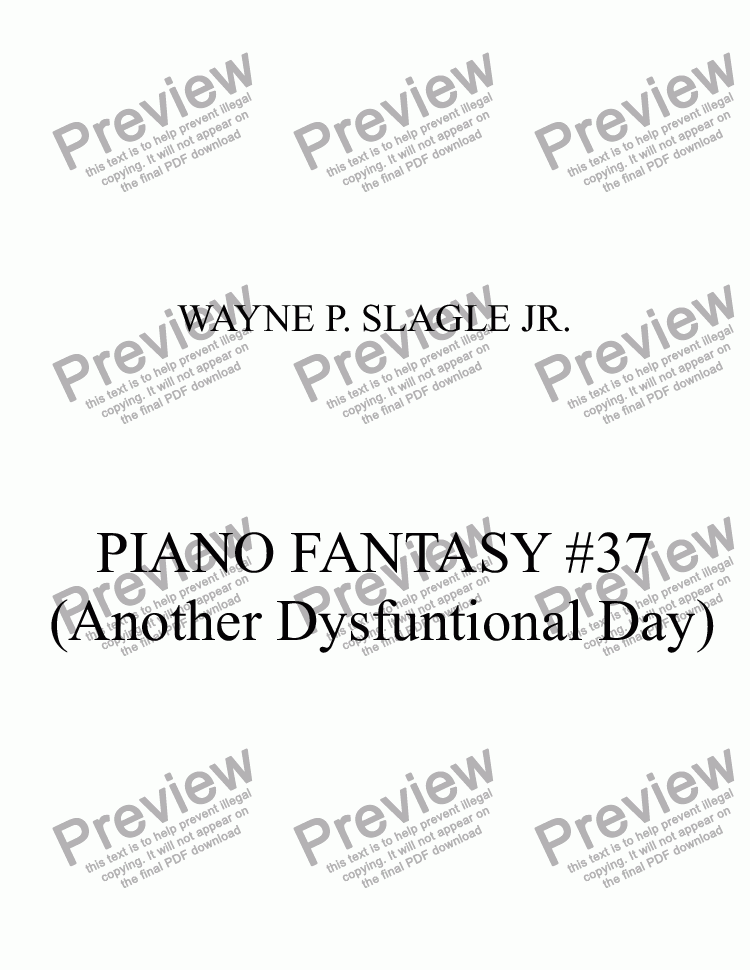 page one of PIANO FANTASY #37  (Another Dysfuntional Day)