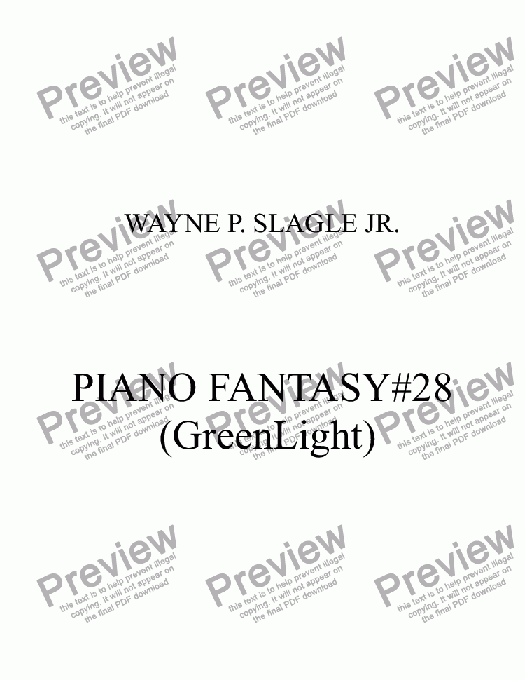 page one of PIANO FANTASY #28(GreenLight)ASALTTEXT