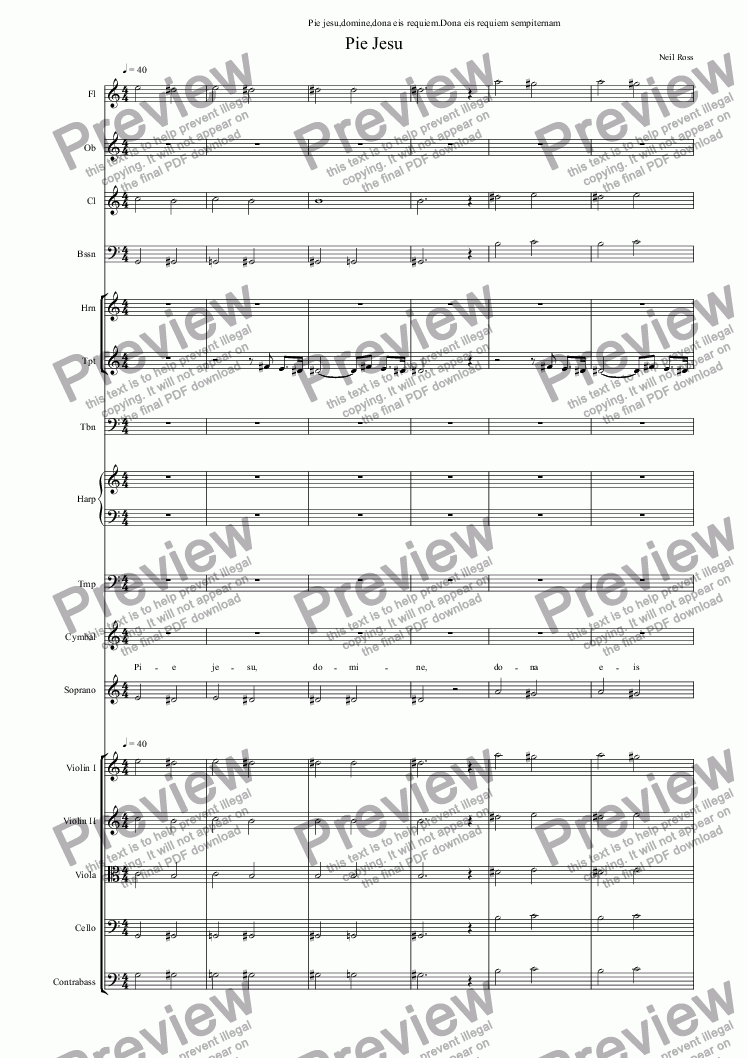 page one of Pie Jesu,OrchestraASALTTEXT