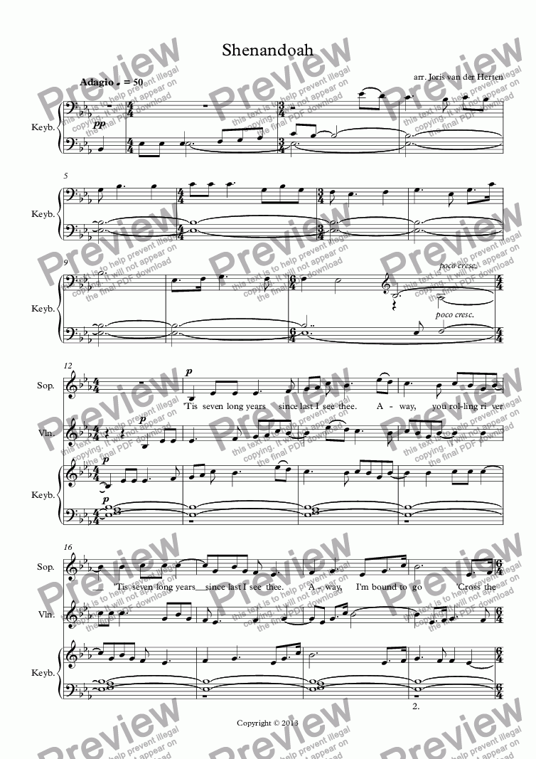 page one of Shenandoah (voice+violin+keyboard)ASALTTEXT