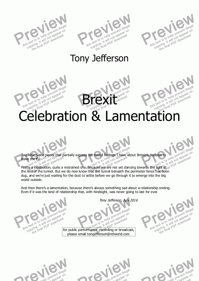 page one of Brexit Celebration & Lamentation