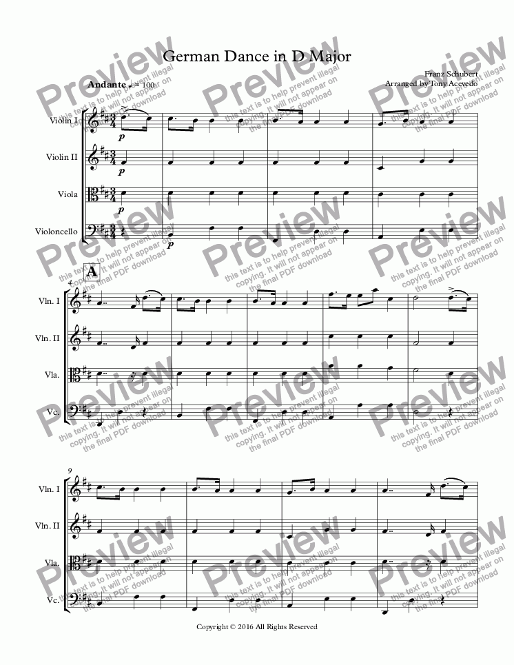 page one of German Dance in D Major