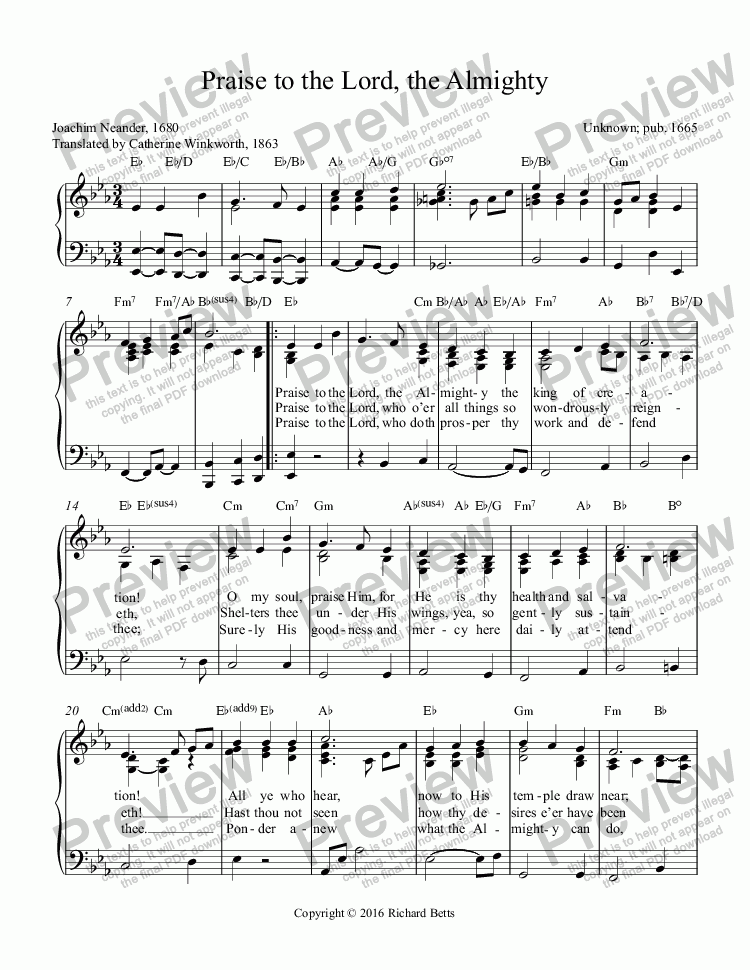 page one of Hymn Piano Accompaniment: Praise to the Lord, the AlmightyASALTTEXT