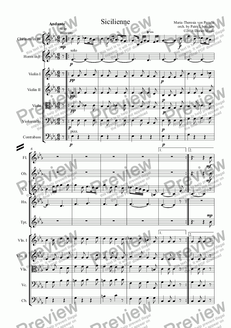 page one of Sicilienne