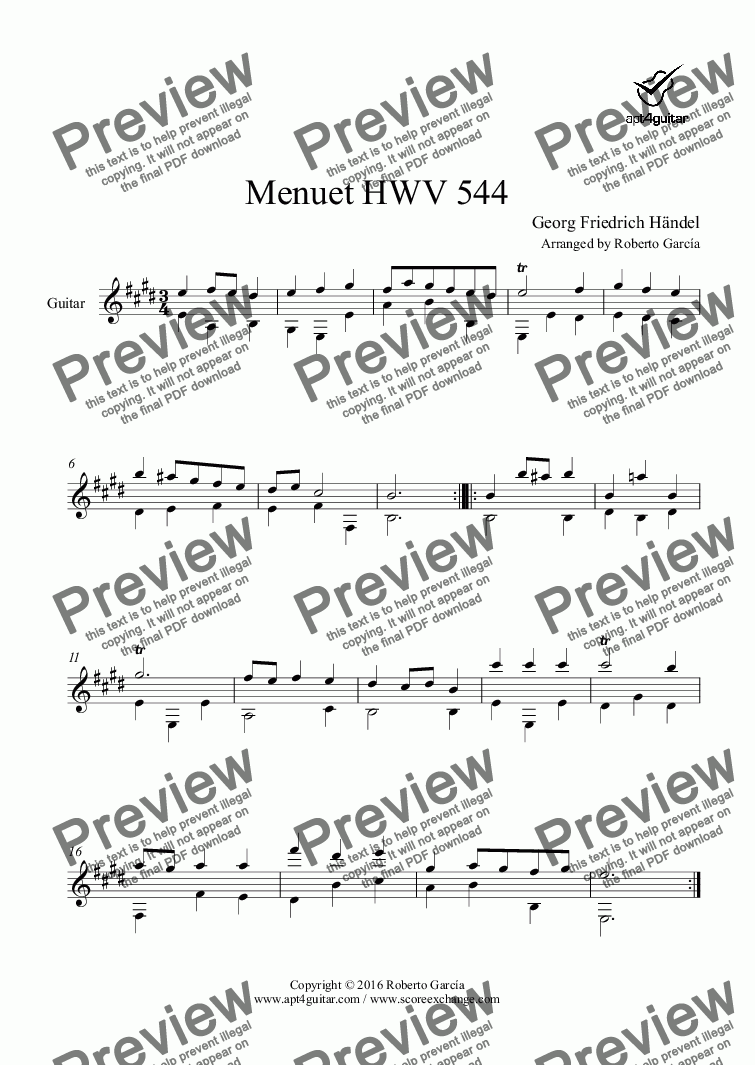 page one of Menuet HWV 544 for solo guitarASALTTEXT