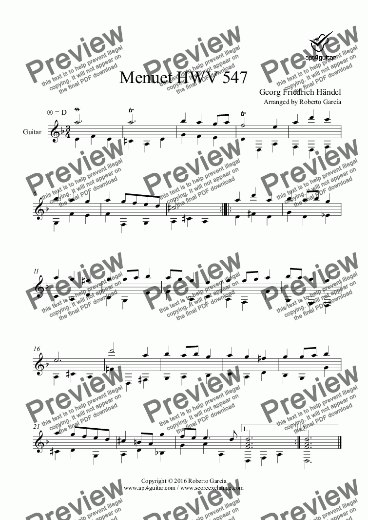 page one of Menuet HWV 547 for solo guitar
