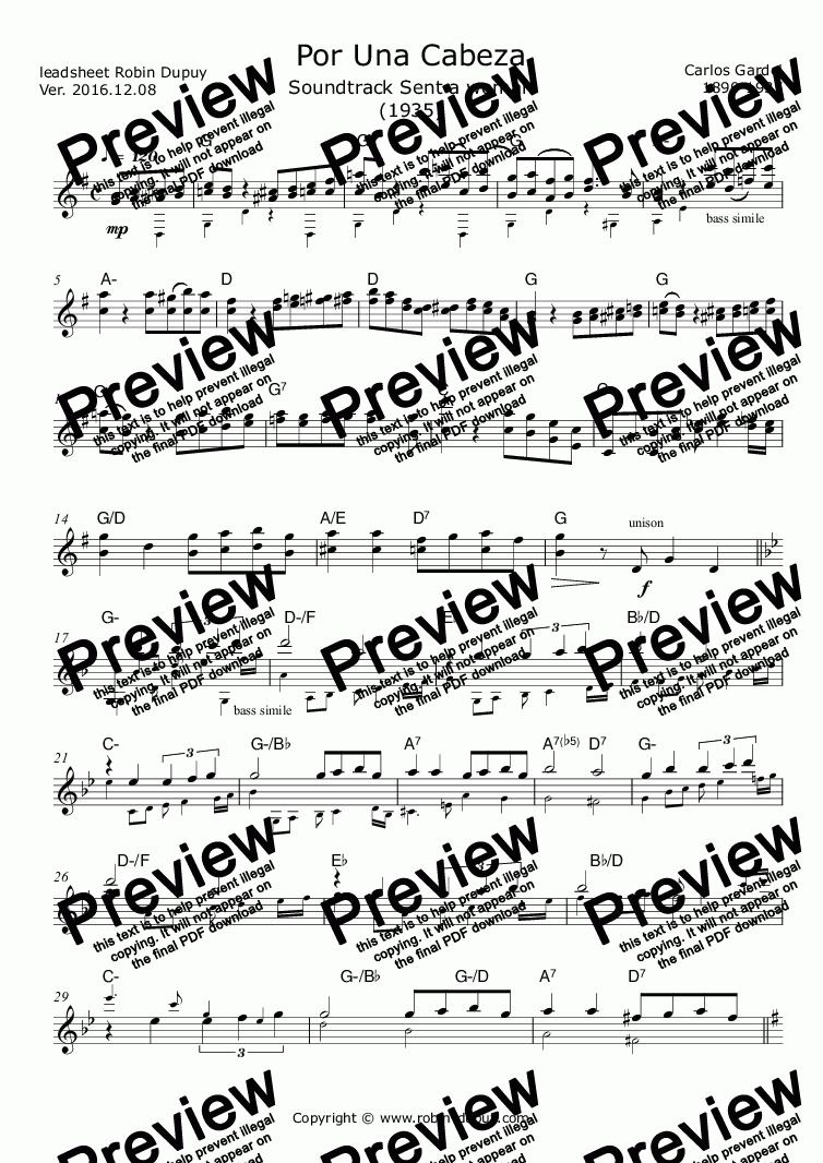 page one of Gardel - Por Una Cabeza - Sent a woman - PDF - lead sheet Melody + chordsASALTTEXT
