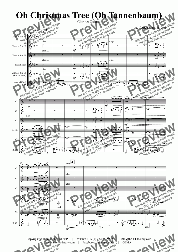 page one of Oh Christmas tree - Oh Tannenbaum - Funky - Clarinet Quintet