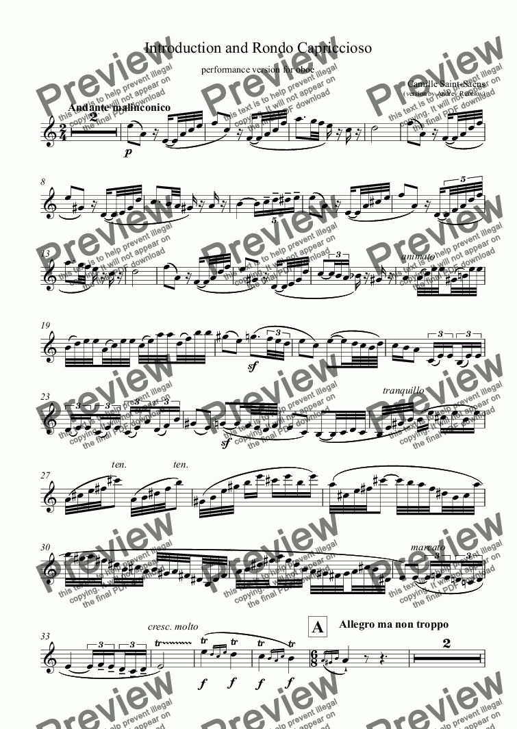 page one of Introduction and Rondo Capriccioso - oboe part