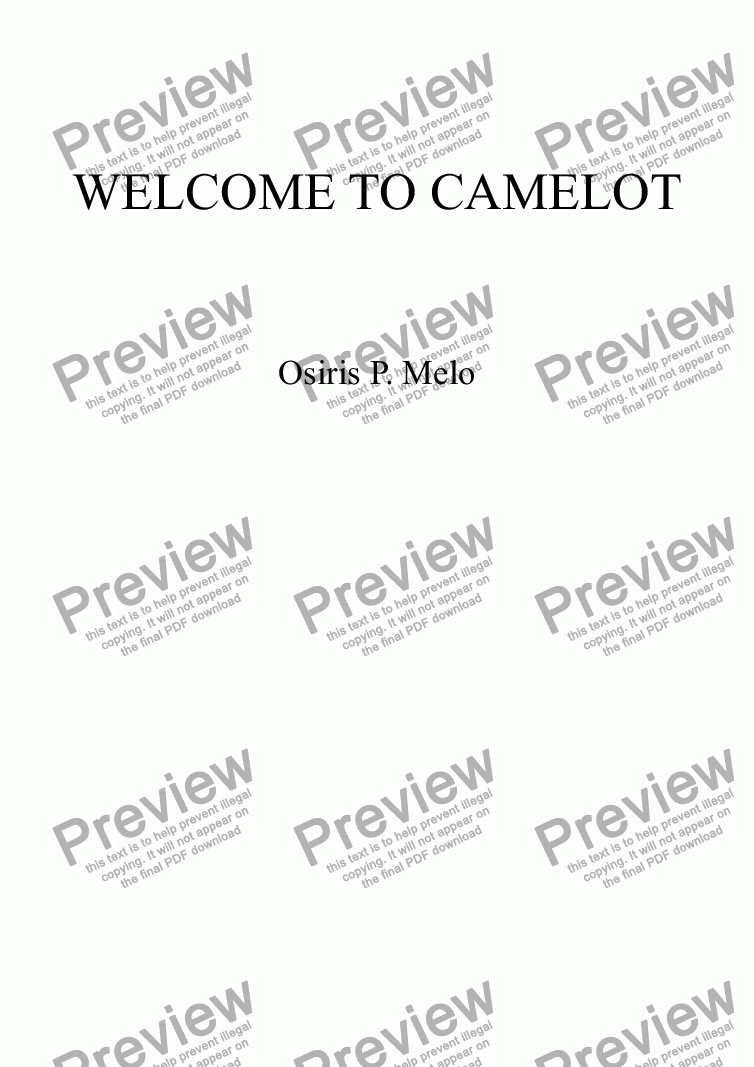 page one of WELCOME TO CAMELOT