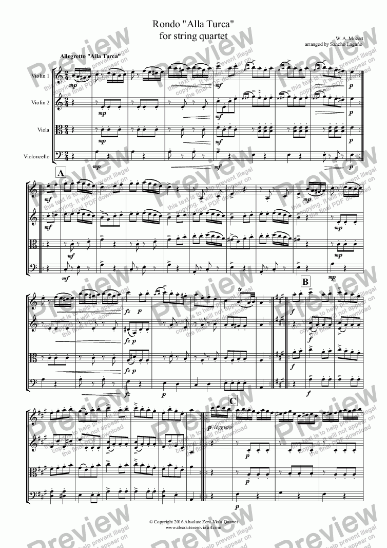 "page one of Mozart - RONDO ""ALLA TURCA"" for string quartet"
