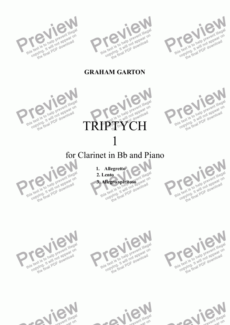 page one of INSTRUMENTAL SCORE FOR TRIPTYCH 1 Allegretto For CLARINET IN Bb and Piano Revised Edition