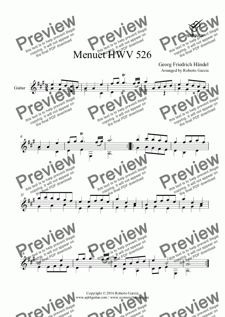 page one of Menuet HWV 526 for solo guitar