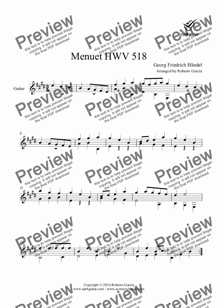 page one of Menuet HWV 518 for solo guitar