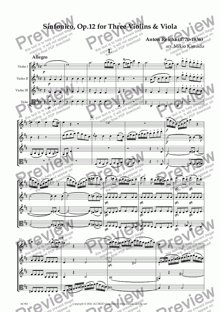 page one of Sinfonico, Op.12 for Three Violins & Viola