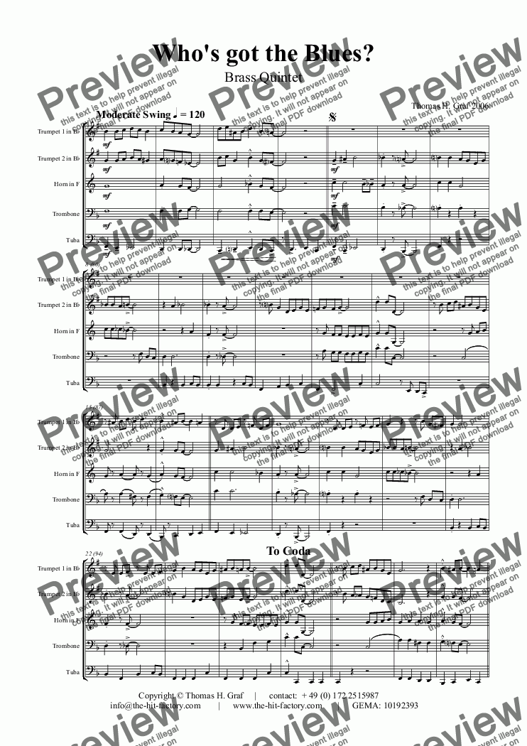page one of Who has got the blues? - You & you & you :-) - Brass Quintet