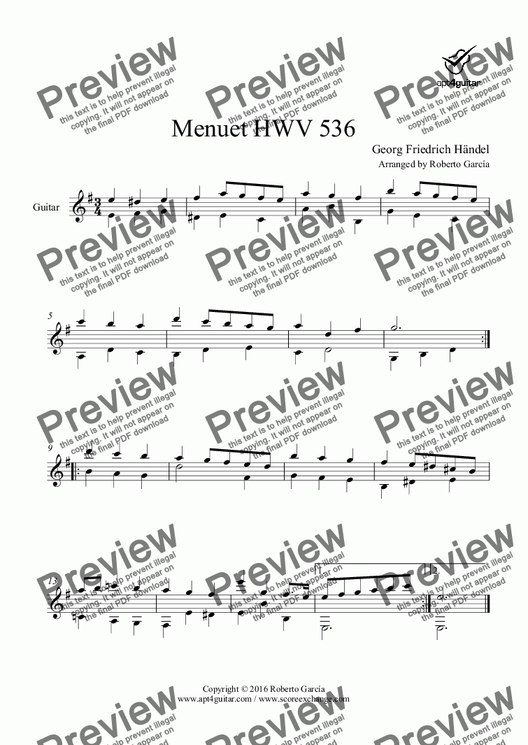 page one of Menuet HWV 536 for solo guitarASALTTEXT
