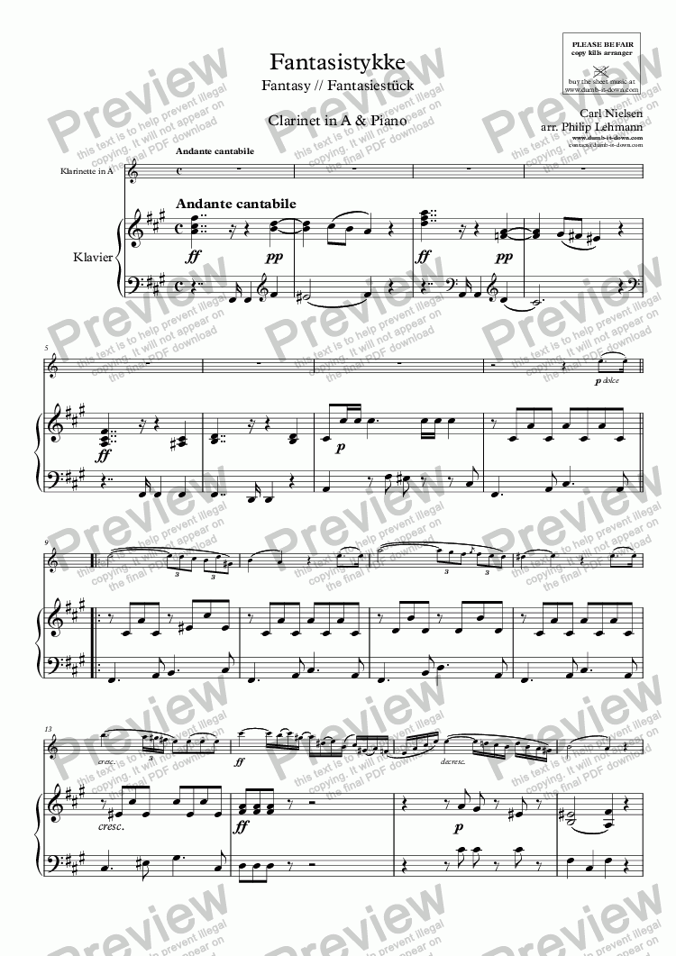 page one of Nielsen, C. - Fantasistykke // Fantasy, CNW 66 - for Clarinet in A (orig.) & Piano (simplified)