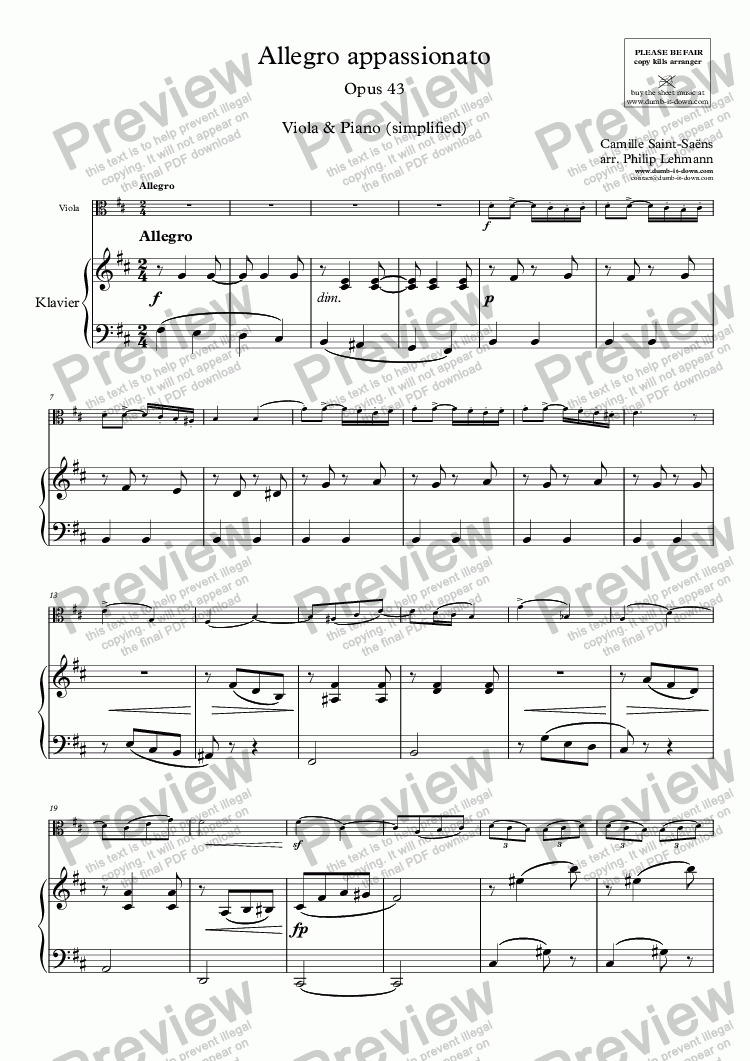 page one of Saint-Saëns, C. - Allegro appassionato, Op. 43 - for Viola (orig.) & Piano (simplified)