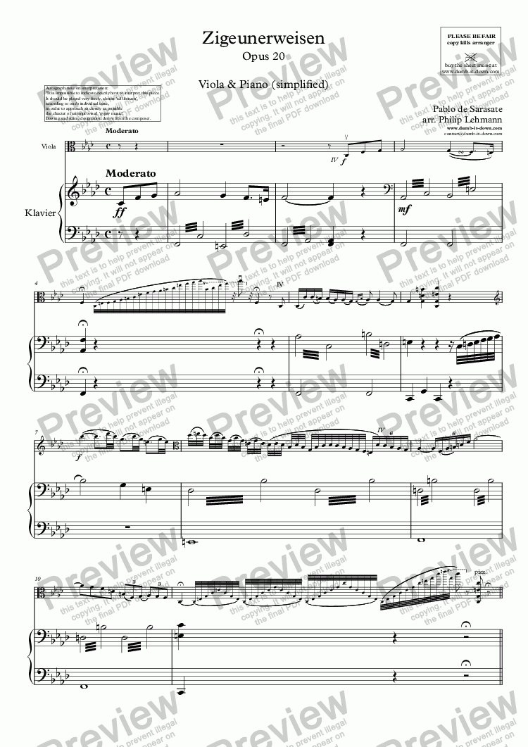 page one of Sarasate, P. - Zigeunerweisen (Gypsy Airs), Op. 20 - for Viola (orig.) & Piano (simplified)