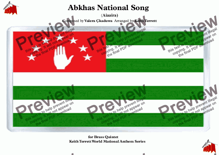 page one of Abkhas National Anthem (Aiaaira) for Brass Quintet & Optional Percussion