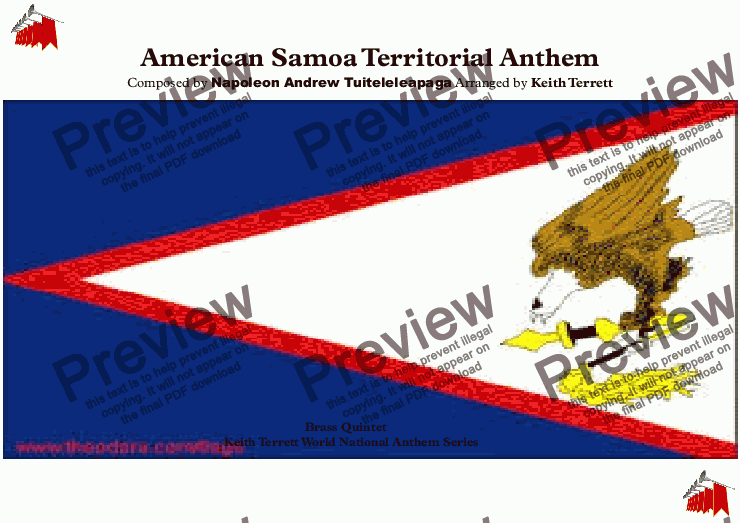 "page one of American Samoan Territorial Anthem ""Amerika Samoa"" for Brass Quintet"