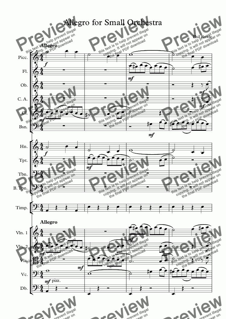 page one of Allegro for Small Orchestra