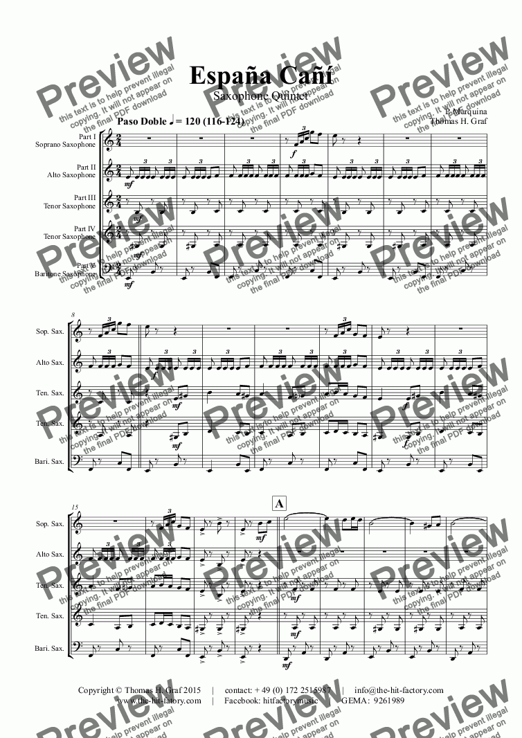 page one of España Cañí - Paso Doble - Gypsy Dance - Saxophone Quintet ASALTTEXT