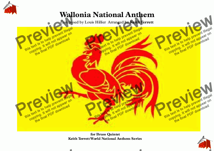 "page one of Wallonia National Anthem ""Le Chant des Wallons"" for Brass Quintet"