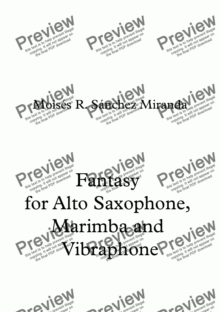 page one of Fantasy for Alto Saxophone, Marimba and Vibraphone