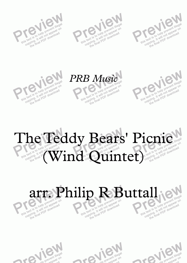 page one of The Teddy Bears' Picnic (Wind Quintet)