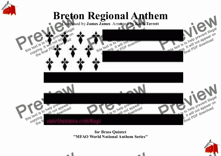 page one of Breton Regional Anthem (Bro Gozh ma Zadoù) for Brass QuintetASALTTEXT