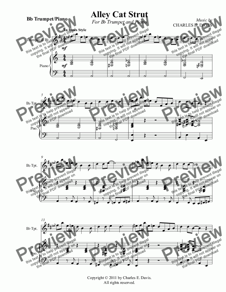 page one of Alley Cat Strut - Bb Trumpet and Piano