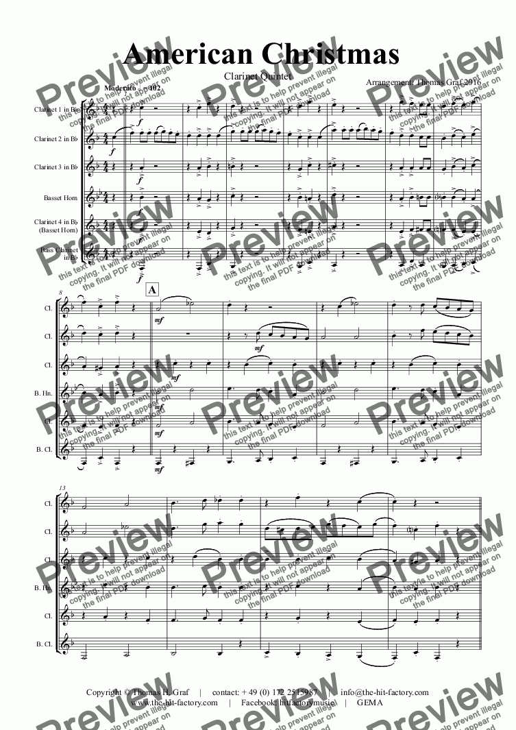 page one of American Christmas - Mash up Rondo of best Christmas Songs - Clarinet Quintet