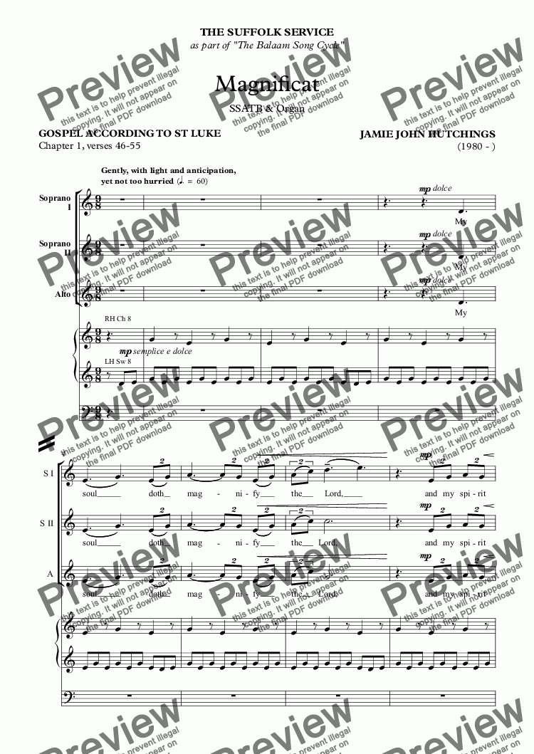 page one of Op.68 - Suffolk Canticles: Magnificat & Nunc Dimittis [SATB div & Org]