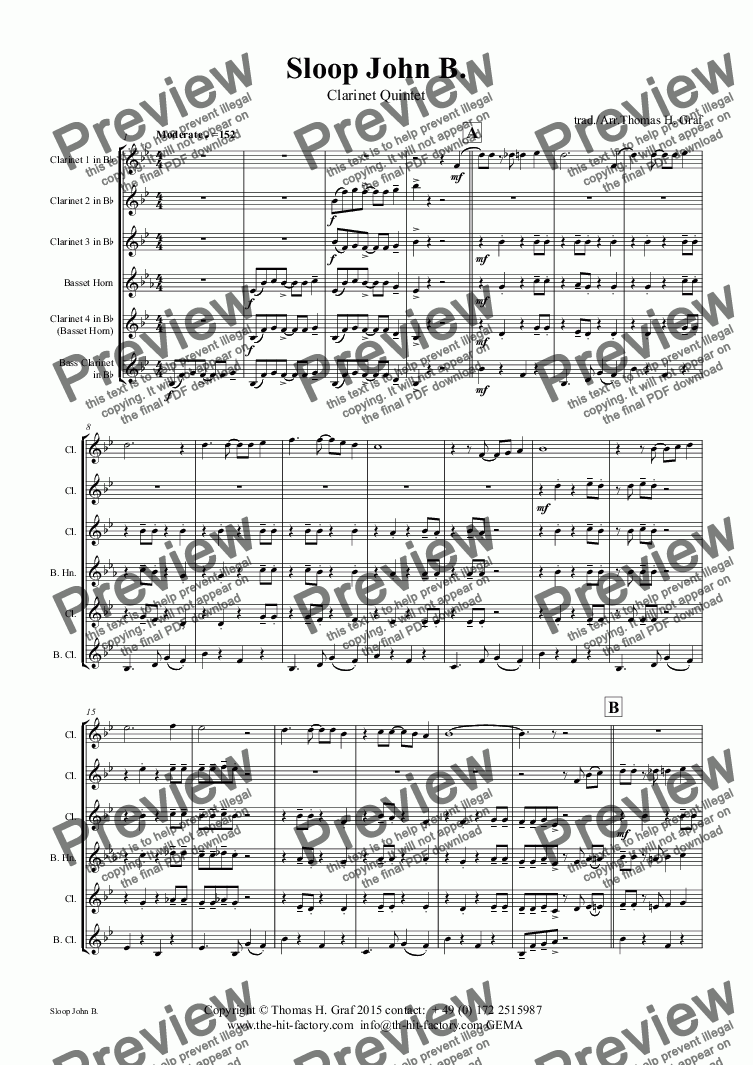 page one of Sloop John B. - Caribian Folk Song - Clarinet Quintet