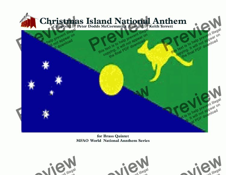 "page one of Christmas Island National Anthem ""Advance Australia Fair"" for Brass Quintet"