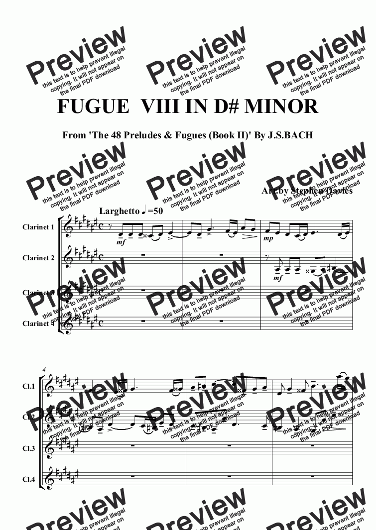 page one of Fugue in D Sharp Minor from The Well Tempered Clavier By J.S.Bach bwv877 (Clarinet Quartet)