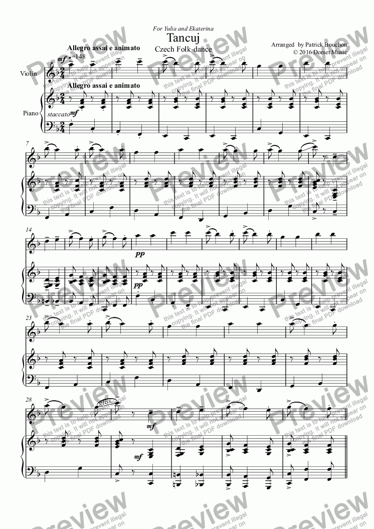 page one of Tancuj - Czech Dance for Violin and PianoASALTTEXT