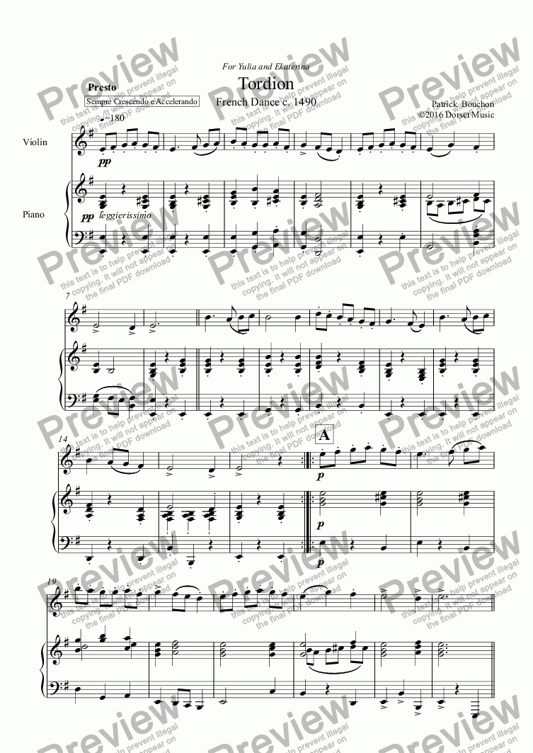 page one of Tordion for Violin and PianoASALTTEXT