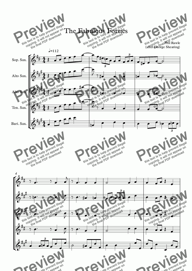page one of The Fabulous Forties - Sax quintetASALTTEXT
