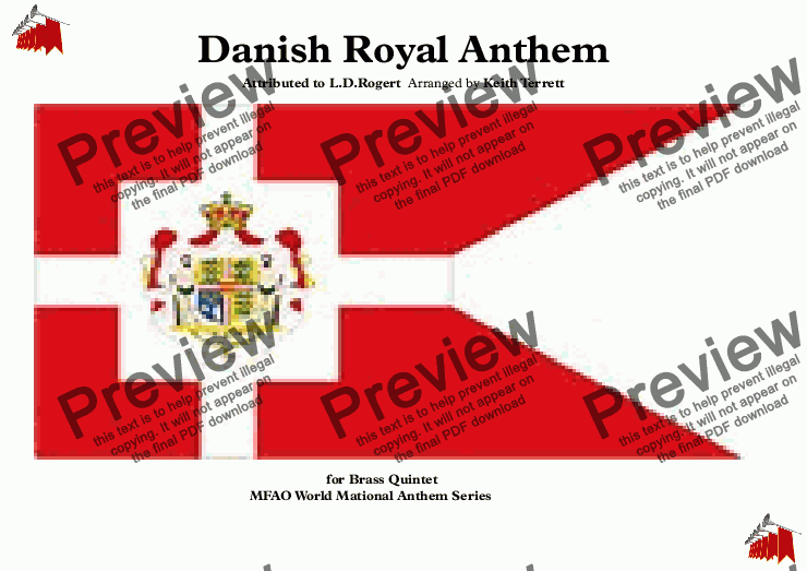 page one of Danish Royal Anthem for Brass Quintet