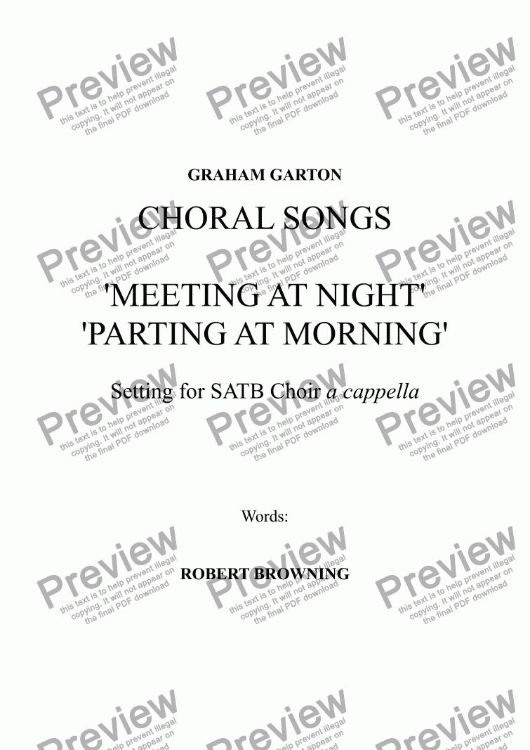 CHORAL SONGS - 'MEETING AT NIGHT' - 'PARTING AT MORNING' Poems
