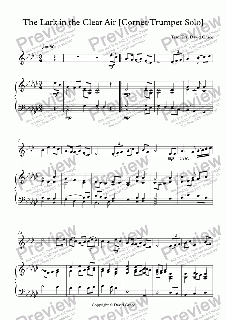 page one of The Lark in the Clear Air [Cornet/Trumpet Solo]ASALTTEXT