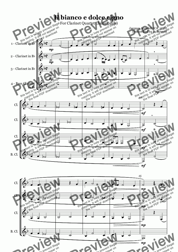 page one of Il bianco e dolce cigno - Clarinet Quartet SSSBASALTTEXT