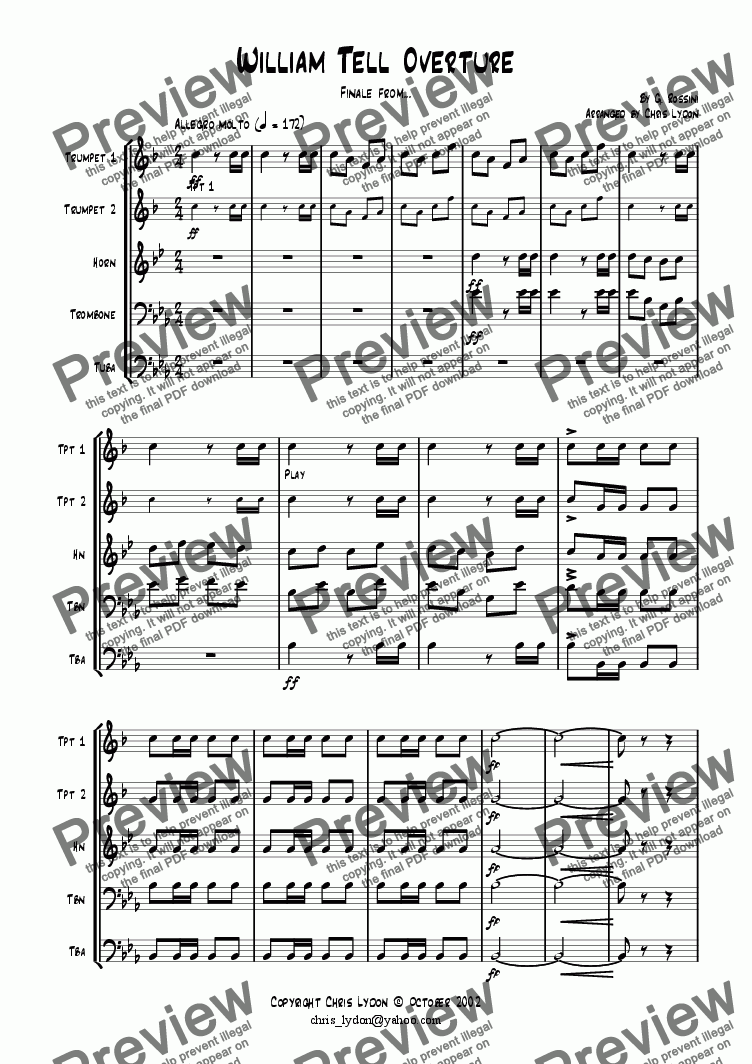 page one of William Tell Overture