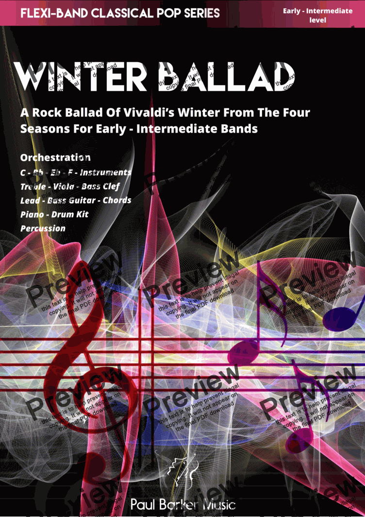 page one of Vivaldi's 4 Seasons - Winter Ballad (Flexi-Band Classical Pop Series)