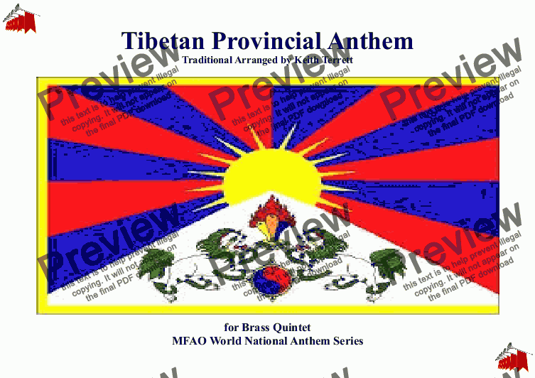 page one of Tibetan National Anthem ''Gyallu'' for Brass Quintet