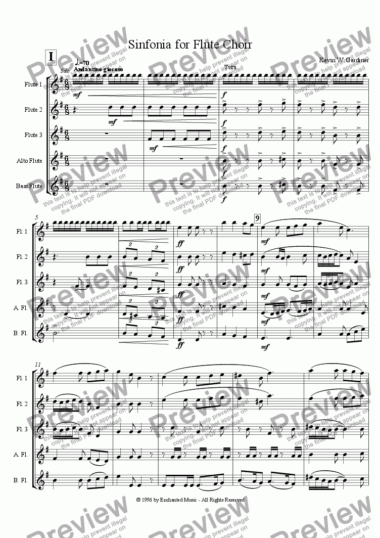 page one of Sinfonia for Flute Choir (3 mov.)
