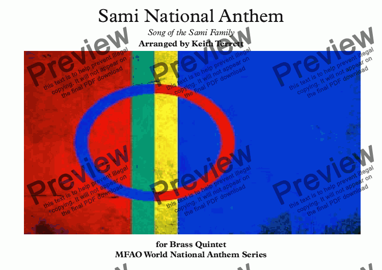 page one of Sami National Anthem (''Sámi soga lávlla'') for Brass Quintet